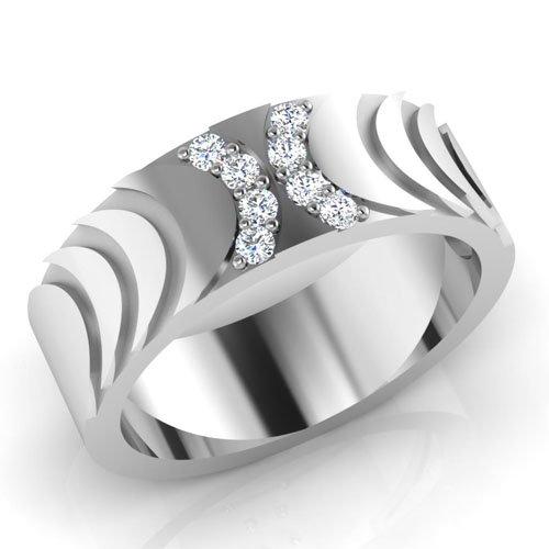 0.15 ct Redondo Natural Diamond anillos de boda para hombre 14 K oro blanco para hombre