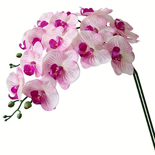 Htmeing 38 Inch Artificial Phalaenopsis Flowers Branches Real Touch (Not Silk) Orchids Flowers for Home Office Wedding Decoration,Pack of 2 (Pink Purple) (Orchid Pink Artificial)