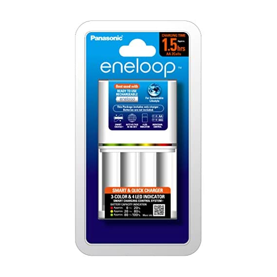 Panasonic eneloop BQ-CC55E-B Advanced, Smart and Quick Charger for AA & AAA Rechargeable Batteries