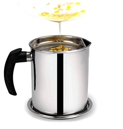 MAI&BAO Filtro Aceite Cocina Acero Inoxidable, Graseras de Cocina con Malla Fina Colador y Tapa Aceite Olla de Colador de...
