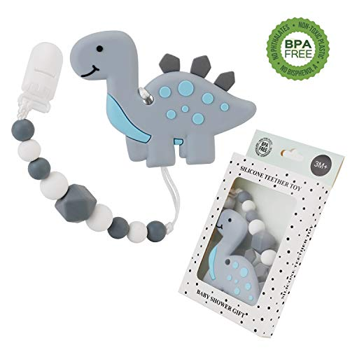 Slotic Baby Teething Toys, Dinosaur Teether Pain Relief Toy with Pacifier Clip Holder Set for Newborn Babies, Freezer Safe Neutral Shower Gift, Soft & Textured Stocking Stuffers for Boy and Girl