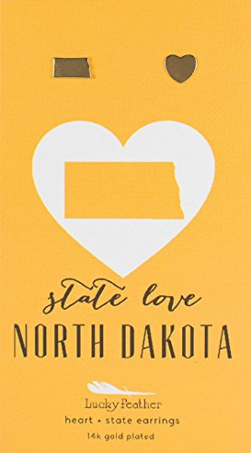 Lucky Feather State Love North Dakota Earrings by Lucky Feather
