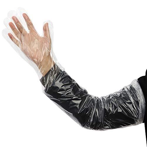 Disposable Long Glove 35 inch Length, 100 per box Soft Plastic Film Gloves Transparent Long Arm Veterinary Examination…