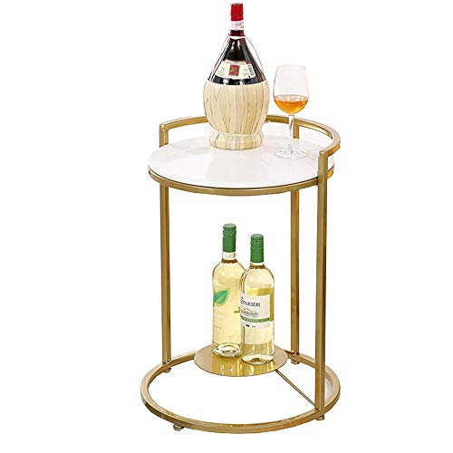 ZHIRONG Side Table Living Room Marble Small Round Table Telephone Table Golden Wrought Iron 2 Layer Corner Table Snack Table,16.9