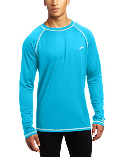 (Speedo Men Easy Long Sleeve Swim Tee, Cyan,)
