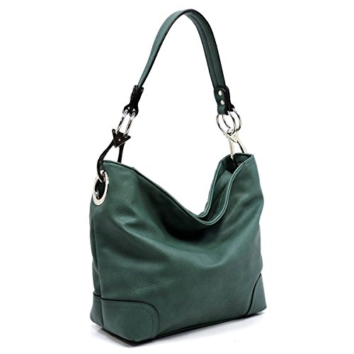 Vegan faux leather bucket shoulder handbag with detachable cross body shoulder strap (ZP-green) by Amy & Joey