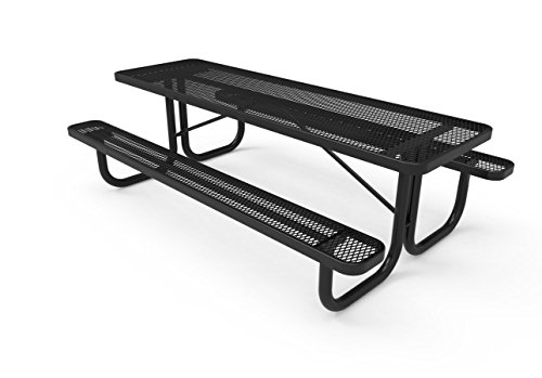 Coated Outdoor Furniture T8-BLK Rectangular Portable Picnic Table, 8 Feet, Black (Expanded 8' Steel Bench)
