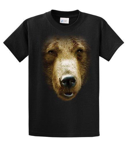Chicago Bears Black Face - Bear Face Print Adult T-Shirt-Black-6Xl