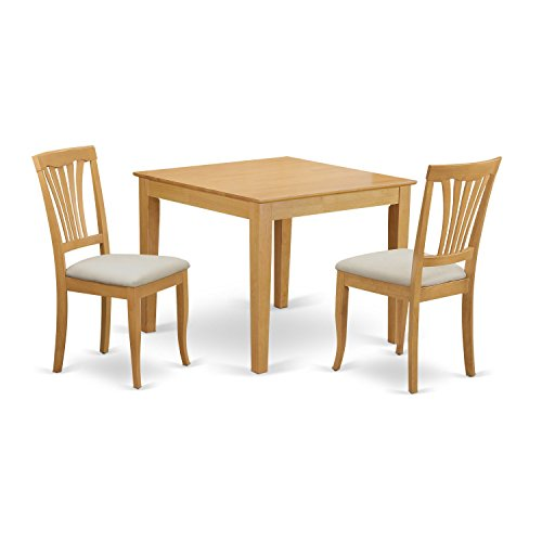 East west furniture oxav3 oak c 3 piece dining table for for Small dining set for 2