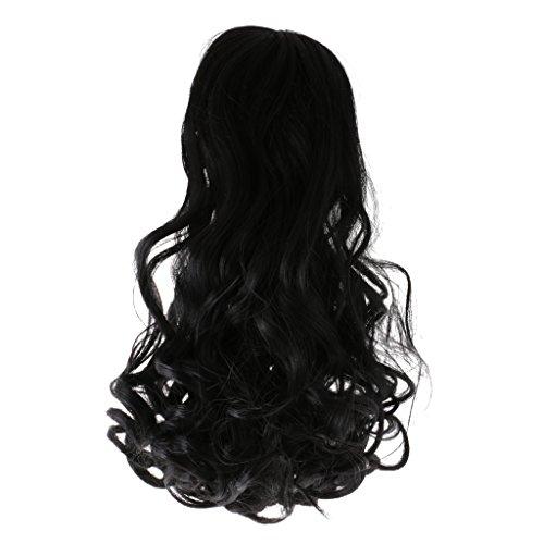 MonkeyJack Black Big Wavy Neat Bang Wig Hairpiece for 18'' Ameican Girl Doll Wigs DIY Making & Repair Supplies