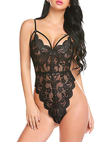 Avidlove Women Sexy Lace Bodysuit Lingerie Strappy Teddy One Piece Babydoll(Black,M) ()