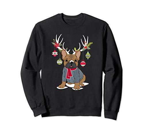 Cute French Bulldog Frenchie Christmas Reindeer - Sweatshirt Bulldog Adult French