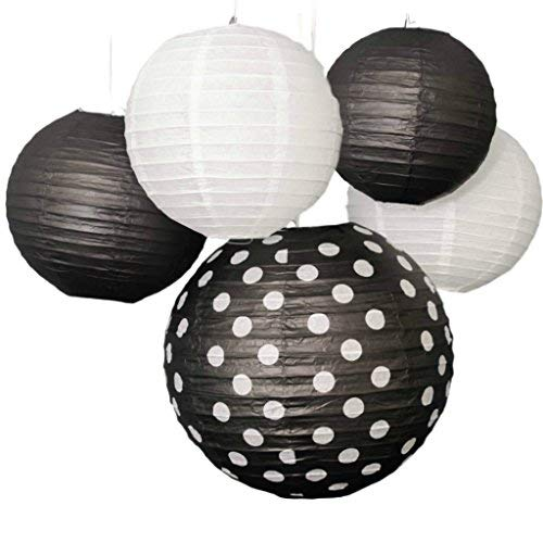 Bobee Black and White Paper Lanterns Party Decorations, set of 5 -