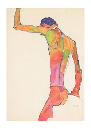 Spiffing Prints Egon Schiele - Male Nude Back - Extra Large - Matte - Framed