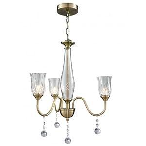 Belleza - Candelabro de cristal para techo, 3 lámparas