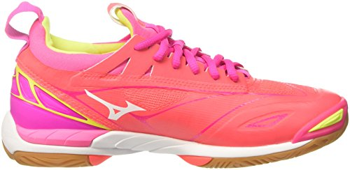 2 Femme Pinkglo 46 Chaussures de Mizuno Fierycoral Wos Safetyyellow Multicolore Mirage Wave Running 60qfE