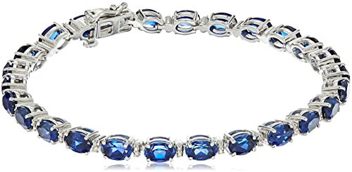 Sterling Silver Created Ceylon Sapphire Oval Fashion Bracelet, (Oval Sapphire Twist)