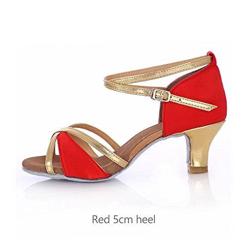 YFF Salón de baile Zapatos de Baile latino Salsa Tango Mujer Mujeres señoras red 5cm heel