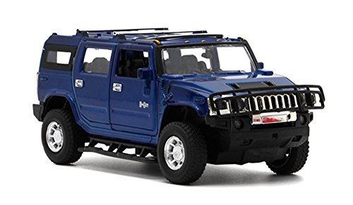 Berry President 1:32 Hummer H2 SUV Die Cast Toy Car Pull Back With Sound and Light (Blue)