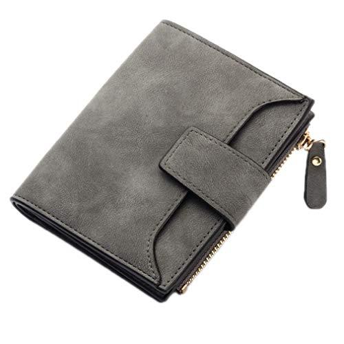 Girlsabag Women Wallet Hasp Zipper Wallets Coin Purse PU Leather Lady Money Pouch Bag deep grey