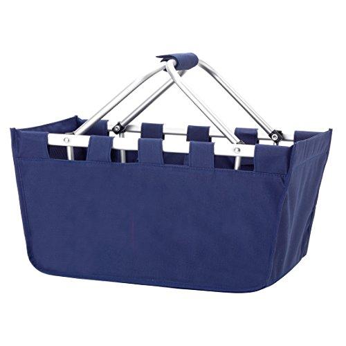 Solid Reusable Shopping Market Tote Basket Craft Sewing Organizer, Navy ()