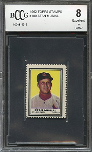 1962 topps stamps #189 STAN MUSIAL st louis cardinals BGS BCCG 8 Graded Card from Topps