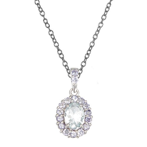 Sterling Silver Aquamarine & Tanzanite Pendant (1.15 CT)