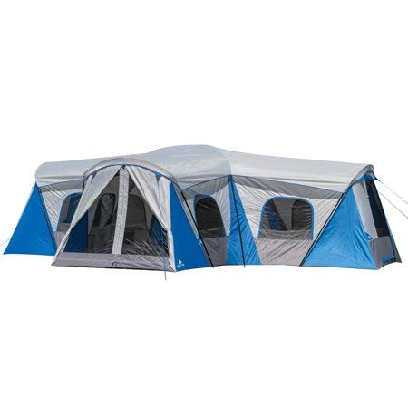 (Roomy and Comfortable Ozark Trail Flat Creek 16-Person Family Cabin Tent,3 Rooms with Separate Doors for Easy Access,Ideal for a Family Camp Out with The Kiddos or Weekend Get Away)