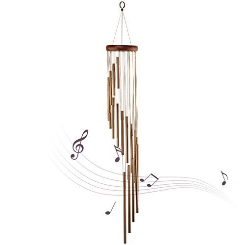 Wind Chimes 35 inch for Garden Home Outdoor Decor - World Music Collection (Brown)