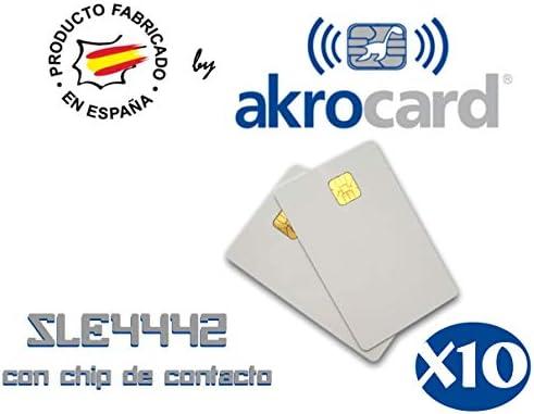 Pack 10 - Tarjeta pvc BLANCA con chip de contacto memoria SLE4442 -Tamaño ISO estándar: 85,7 x 54 mm. Grosor inferior a 0,9 mm para imprimir mediante impresora tarjetas pvc: Amazon.es: Oficina y papelería