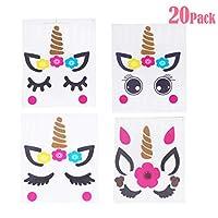 Joy Uinan Unicorn Stickers Unicorn Horn Stickers Unicorn Eyelash Stickers Unicorn Stickers for Girls 20 Pack Unicorn Party Supplies for Kid Birthday