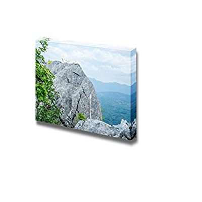 Canvas Prints Wall Art - Great Rock at The Top of The Hill with Yellow Flowers and Branches | Modern Wall Decor/Home Decoration Stretched Gallery Canvas Wrap Giclee Print & Ready to Hang - 32