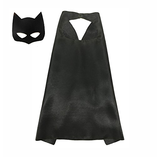 [Boy Girl Superhero Comics Cartoon Dress Up Costume Cape & Mask For Kids Toddlers (Black)] (70's Costume Ideas For Kids)