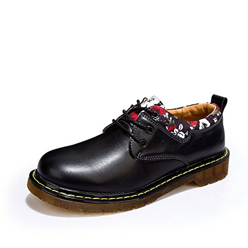 Men's Shoes Feifei Spring and Autumn Leisure Retro Thick Bottom Leather Shoes 3 Colors (Color : Black, Size : EU/41/UK7.5-8/CN42)