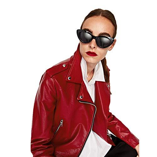 Metal Invierno Color Otoño Cuero De Niñas Prueba Moda La Biker Outwear Ideal A Cjjc Damas Red Viento Chaqueta 's Solapa Cinturón Mujeres Para Puro Las T5qExzP