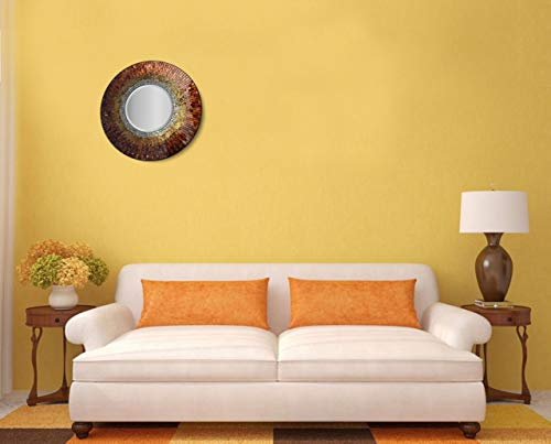 Apartment decorating ideas. LuLu Decor, Baltic Amber Mosaic Wall Mirror, Decorative Handmade Beveled Round Mirror, Diameter 23.5