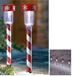 Holiday Candy Cane Solar Lights Set Of 4