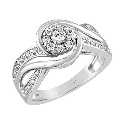 Brilliant Expressions 10K White Gold 3/8 Cttw Conflict Free Diamond Round Halo Scrolled Wave Engagement Ring (I-J Color, I2-I3 Clarity), Size - Diamond Gold Ring Wave