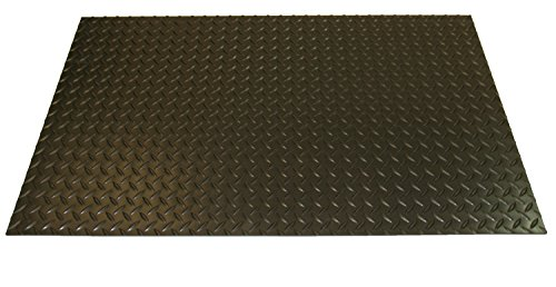Rhino Mats SBD-424-2436 Diamond Plate Pattern Rubber Insulating Switchboard Mat, 2' Width x 3' Length x 1/4