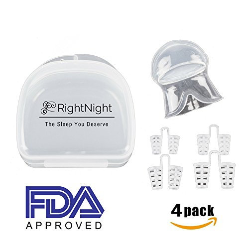 RightNight Stop Snoring Solution - Anti Snore Device, Sleep Aid, Silicone Tongue Retainer of Snoring Mouthpiece Solution, Nasal Dilator Toxin and BPA Free Snore Stopper