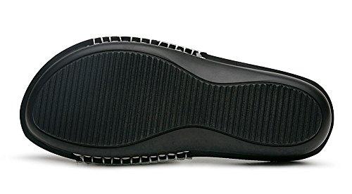 Plataforma Plateado Mules Aire Cuero Yooeen Libre Bajo Negro Mujer Zuecos Chanclas Verano Moda de Sandalias Zapatillas 6v8xqFT