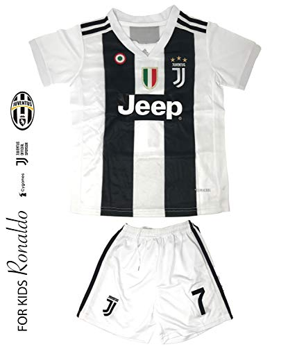 Juventus Soccer Jersey for Kids on Season 2019 - Juventus Ronaldo No.7 - Replica Jersey Kit: Shirt + Short and Includes All Patches and Logos - Soccer KIT for Kids - Uniforms Soccer Replica