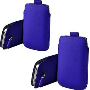 ONX3 Twin Pack HTC Wildfire G8 azul PU de cuero protector lengüeta del tirón la bolsa de la cubierta de la piel