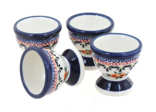 Blue Rose Polish Pottery Floral Butterfly Egg Cup Set