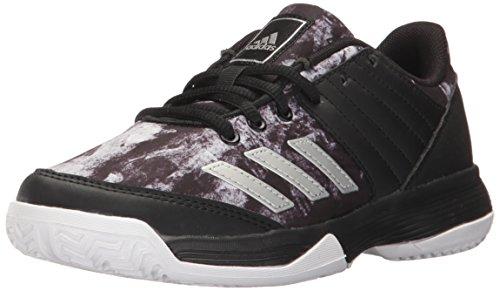 Kids Volleyball Shoes - adidas Boys' Ligra 5 K Tennis Shoe, Black/Metallic Silver/White, 4 M US Big Kid
