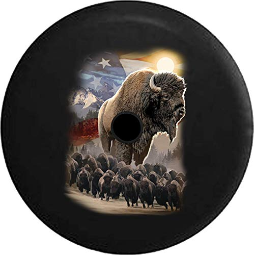 Pike Outdoors JL Series Spare Tire Cover Backup Camera Hole American Bison Herd Majestic Mountain Range Black 33 in