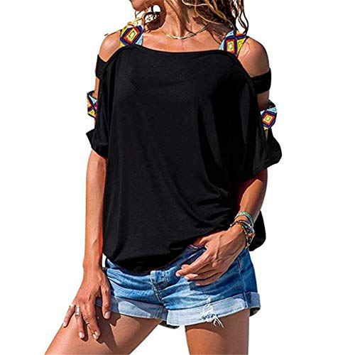 2019 Hot Style Women Off Shoulder Sticting Hollow Up Blouses Short Sleeve Casual Everyday T-Shirt Black