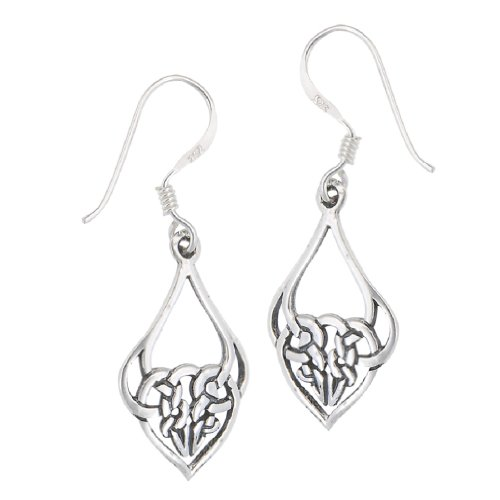 .925 Sterling Silver Celtic Knot Heart French Wire Earrings -