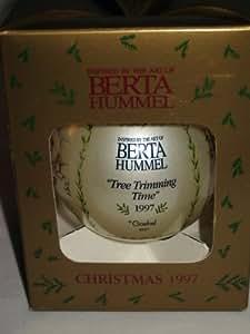 Goebel Berta Hummel Tree Trimming Time 1997 Christmas Glass Ball Ornament