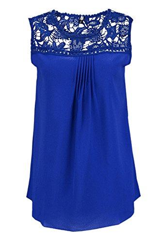 Liqy - Camiseta Mujer Mangas Cortas Pluma encaje Tops Verano azul real